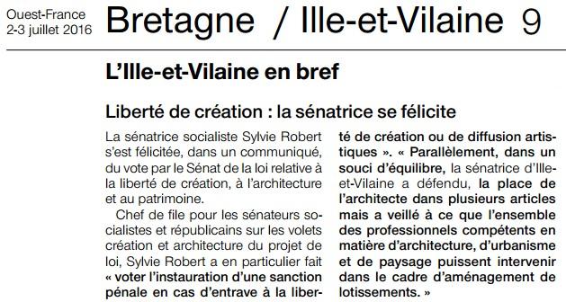 Article Ouest-France Liberte de creation