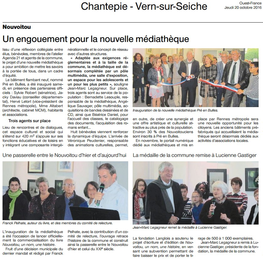 Art. Ouest-France Inauguration de la médiathèque de Nouvoitou