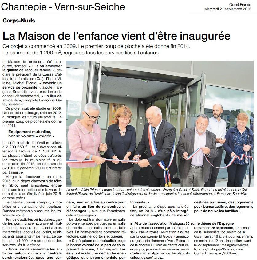 Art. Ouest-France Inauguration de la Maison de l'Enfance à Corps Nuds