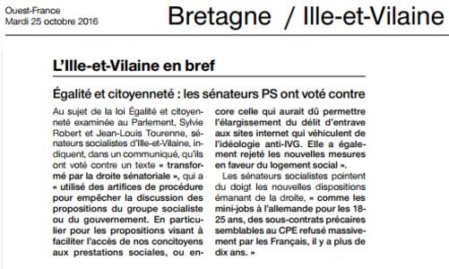 Art. Ouest-France Pourquoi les sénateurs PS ont voté contre la loi Egalité Citoyenneté