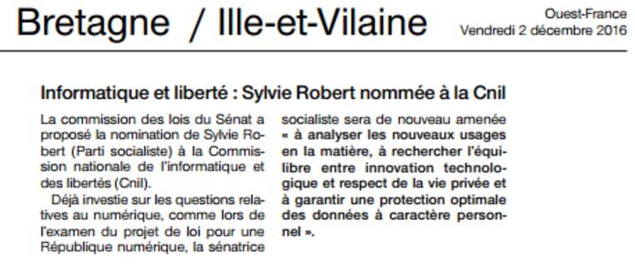 Article Ouest-France membre de la CNIL
