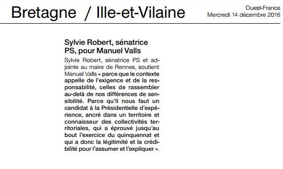 Article Ouest-France soutien à Manuel Valls