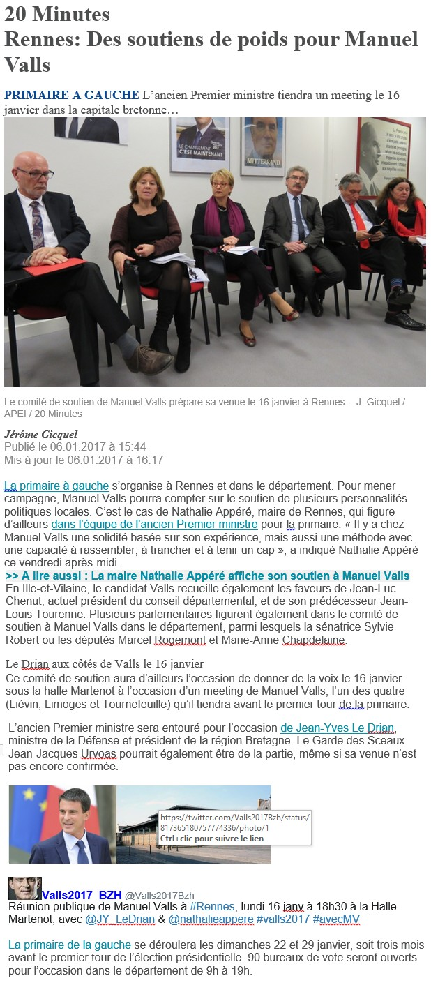 Article 20 minutes soutiens de M Valls
