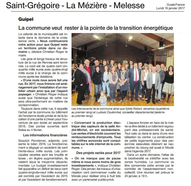Article de Ouest-France Voeux Guipel