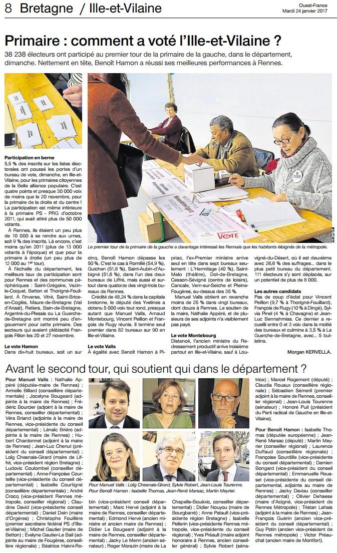 Article Ouest-France Primaires 1er tour