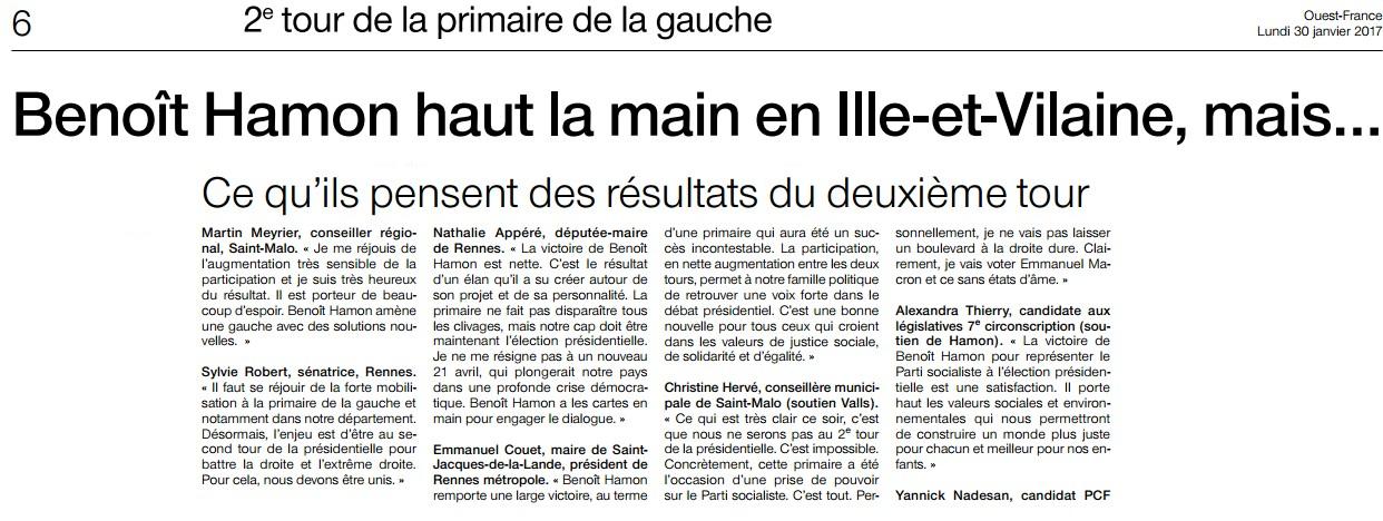 Article Ouest-France 2d tour Primaires gauche