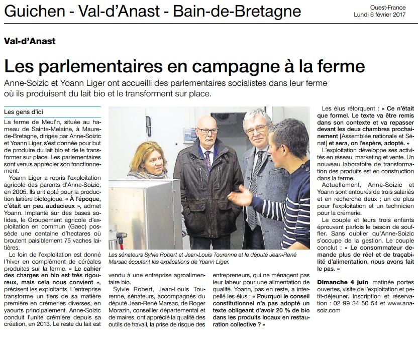 Article Ouest-France Visite à Val d'Anast