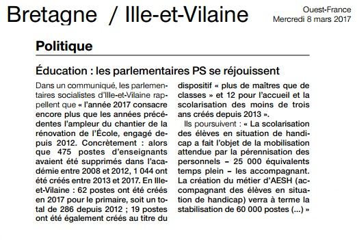 Article Ouest-France Parlementaires PS Ecucation