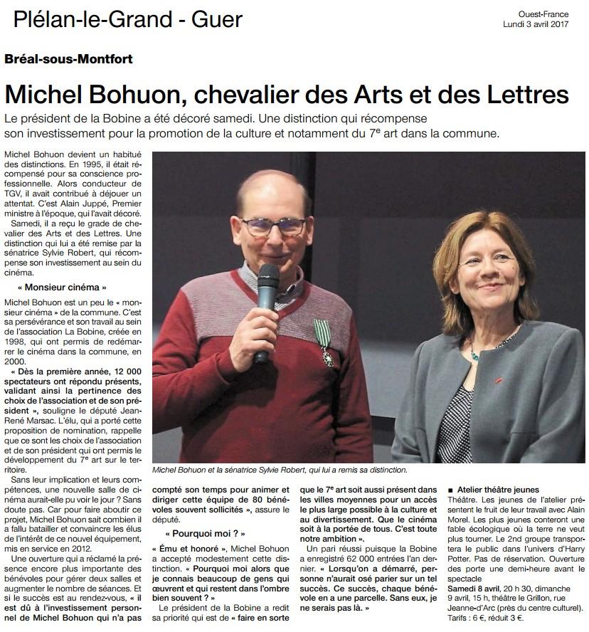 Remise des Insignes des Arts et des Lettres à Michel Bohuon