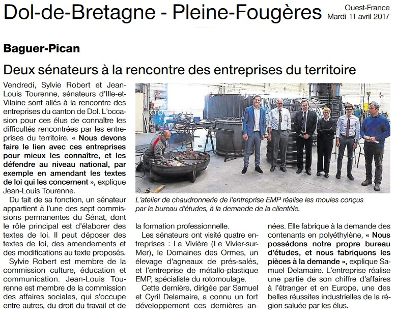 Article Ouest-France Visite canton Dol