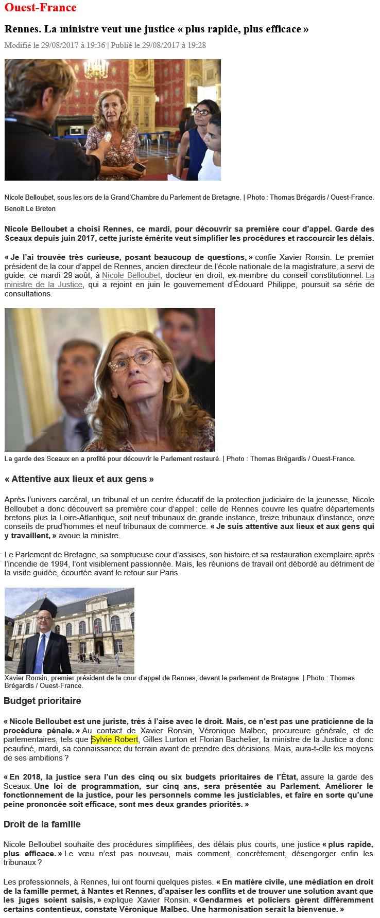 Article Ouest-France Mme Belloubet et M Orsenna à Rennes