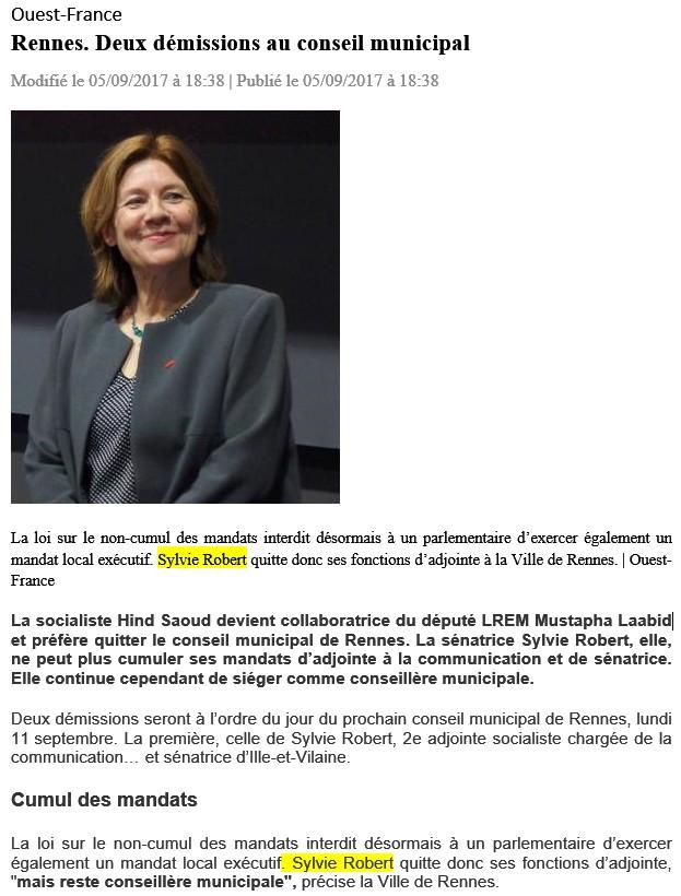 Article Ouest-France démission du poste d'Adjointe auprès de la maire de Rennes
