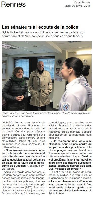 Article de Ouest France Visite Commissariat