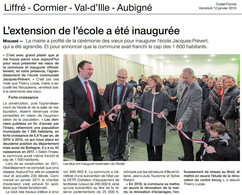 Article OF Voeux du Maire de Mouazé et inauguration de l'extension de l'école
