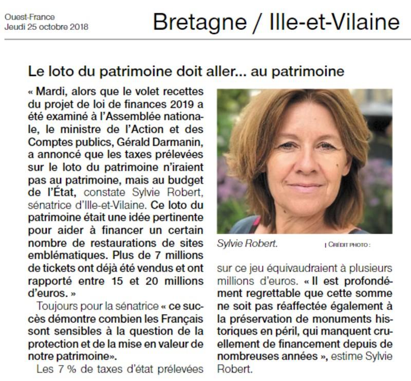 article Ouest-France Loto du Patrimoine