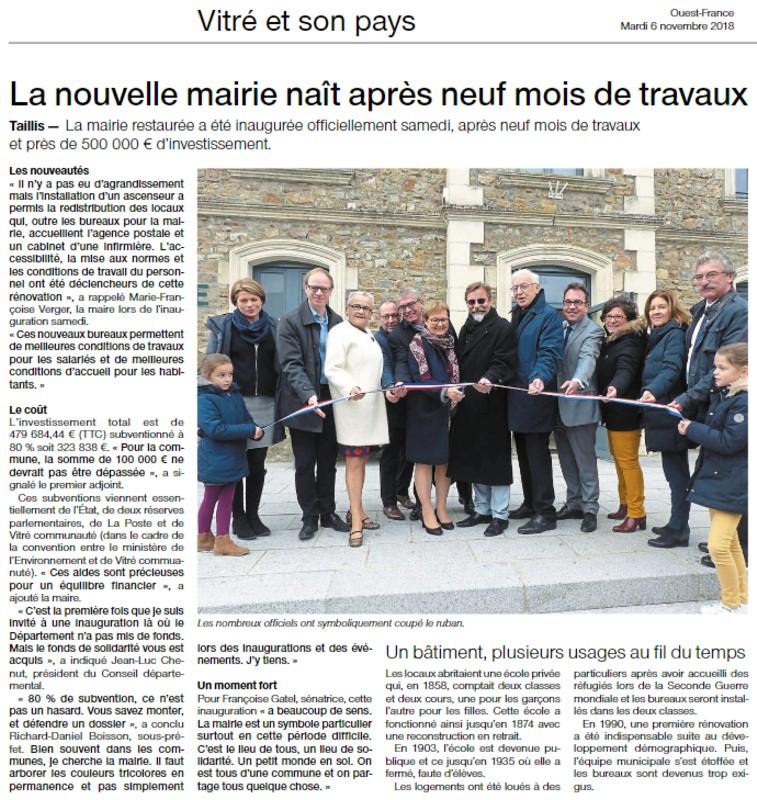 Article Ouest-France Nouvelle Mairie de Taillis