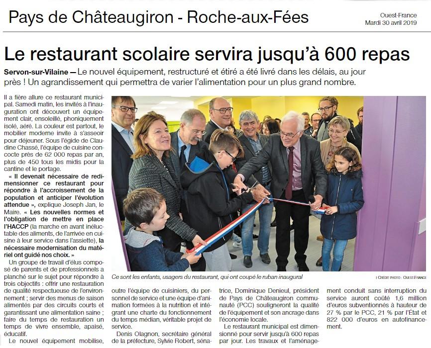 Servon sur Vilaine Inauguration du restaurant scolaire municipal