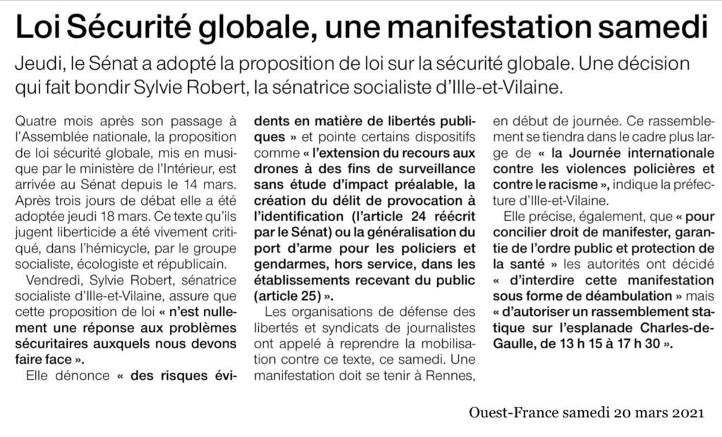 Article Ouest-France Loi Sécurité Globale